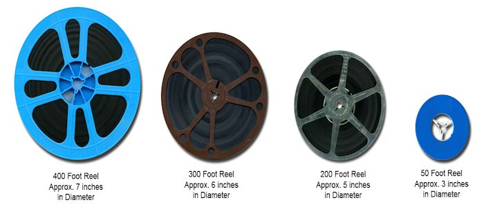 reels of 8 mm film showing size of reel and length