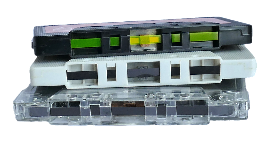 3 Cassettes Stacked On Top Of Each Other. Audio Cassettes Can Be Converted At Video Services.