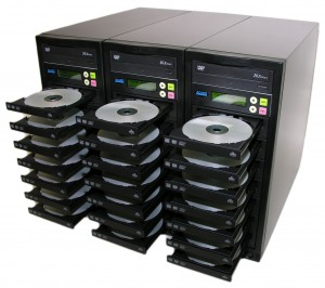 cd duplication machine with discs in open position